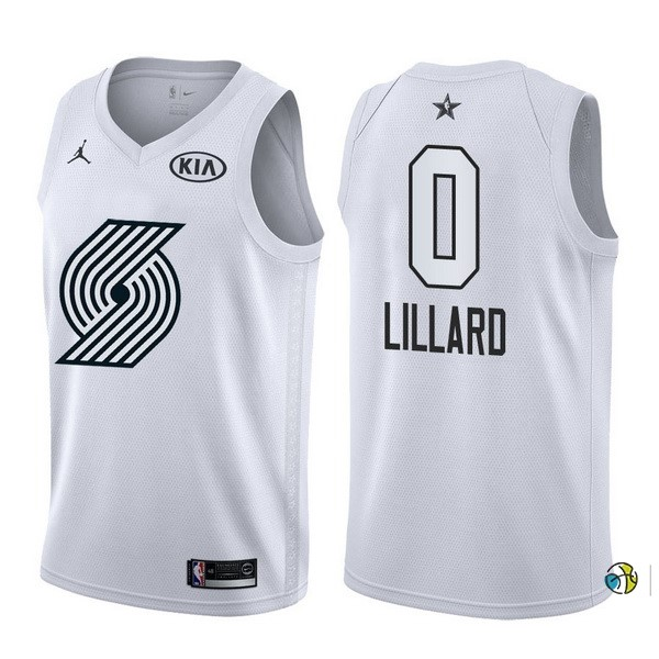 Maillot NBA 2018 All Star NO.0 Damian Lillard Blanc
