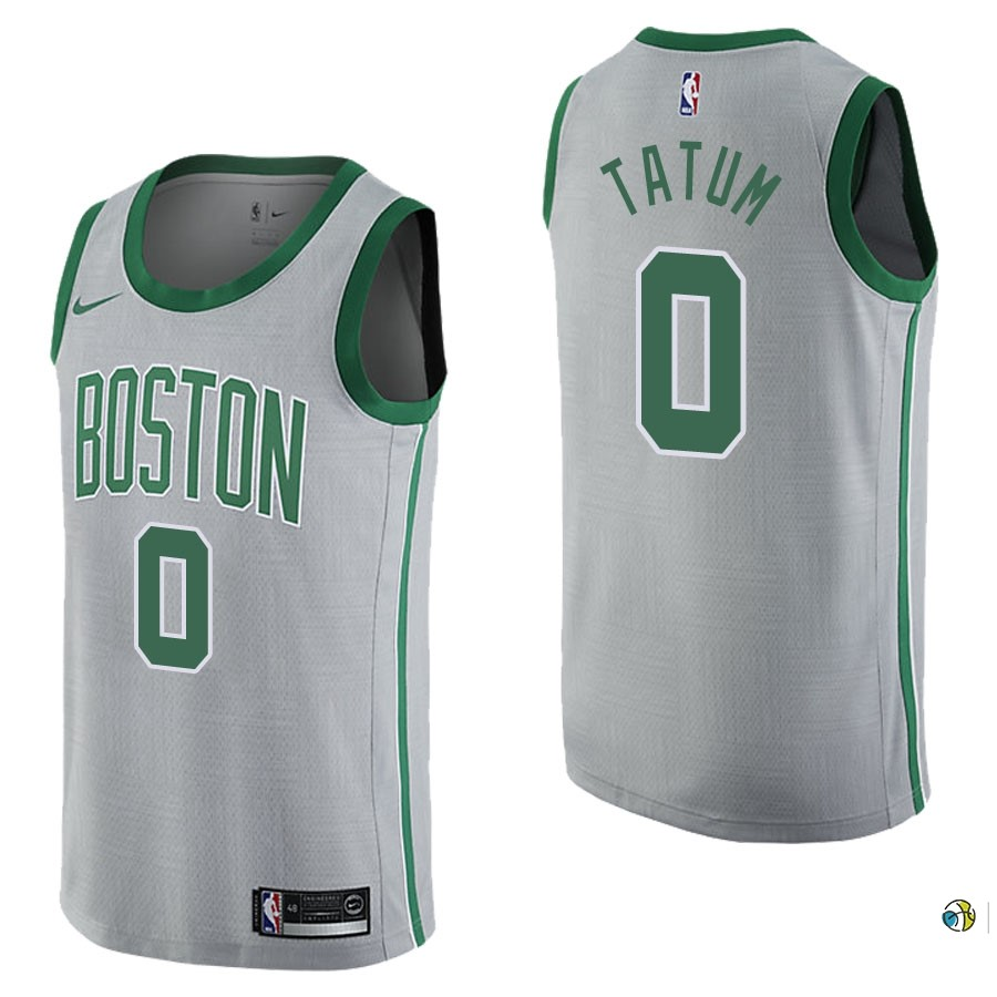 Maillot NBA Boston Celtics NO.0 Jayson Tatum Nike Gris Ville 2017-18