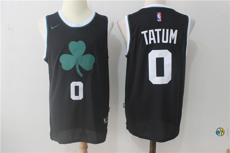 Maillot NBA Boston Celtics NO.0 Jayson Tatum Tout Noir 2017-18
