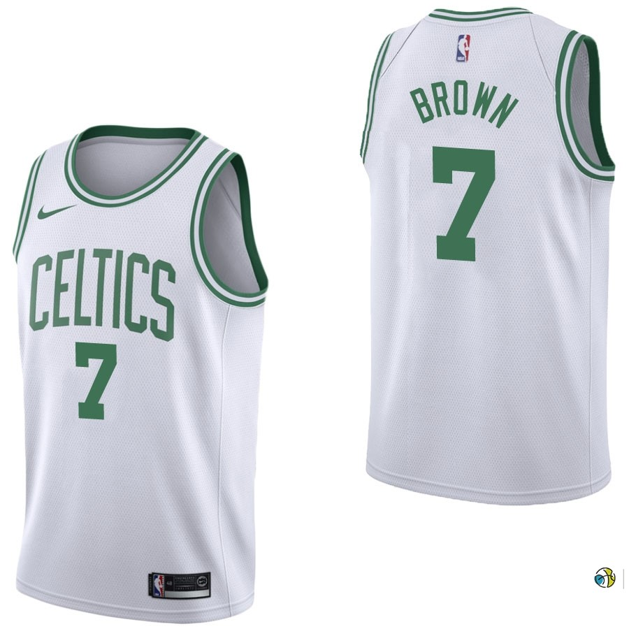 Maillot NBA Boston Celtics NO.7 Jaylen Brown Blanc Association 2017-18