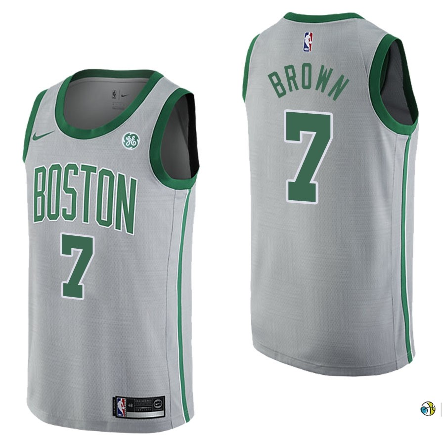 Maillot NBA Boston Celtics NO.7 Jaylen Brown Gris Ville 2017-18