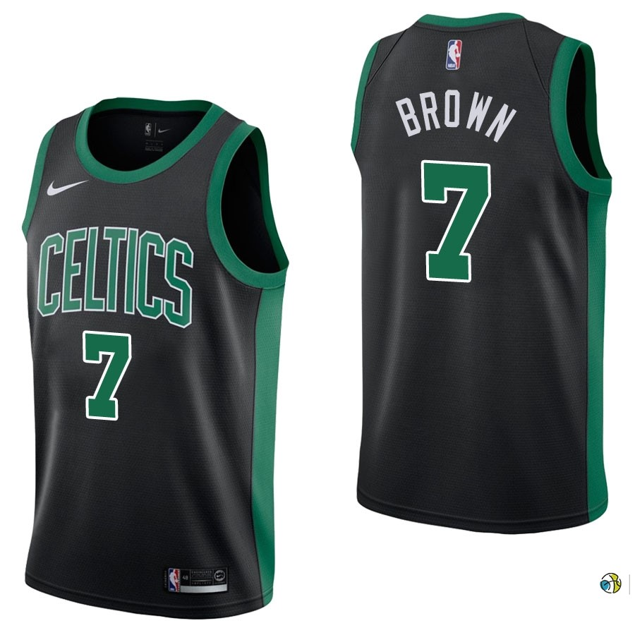 Maillot NBA Boston Celtics NO.7 Jaylen Brown Noir Statement 2017-18