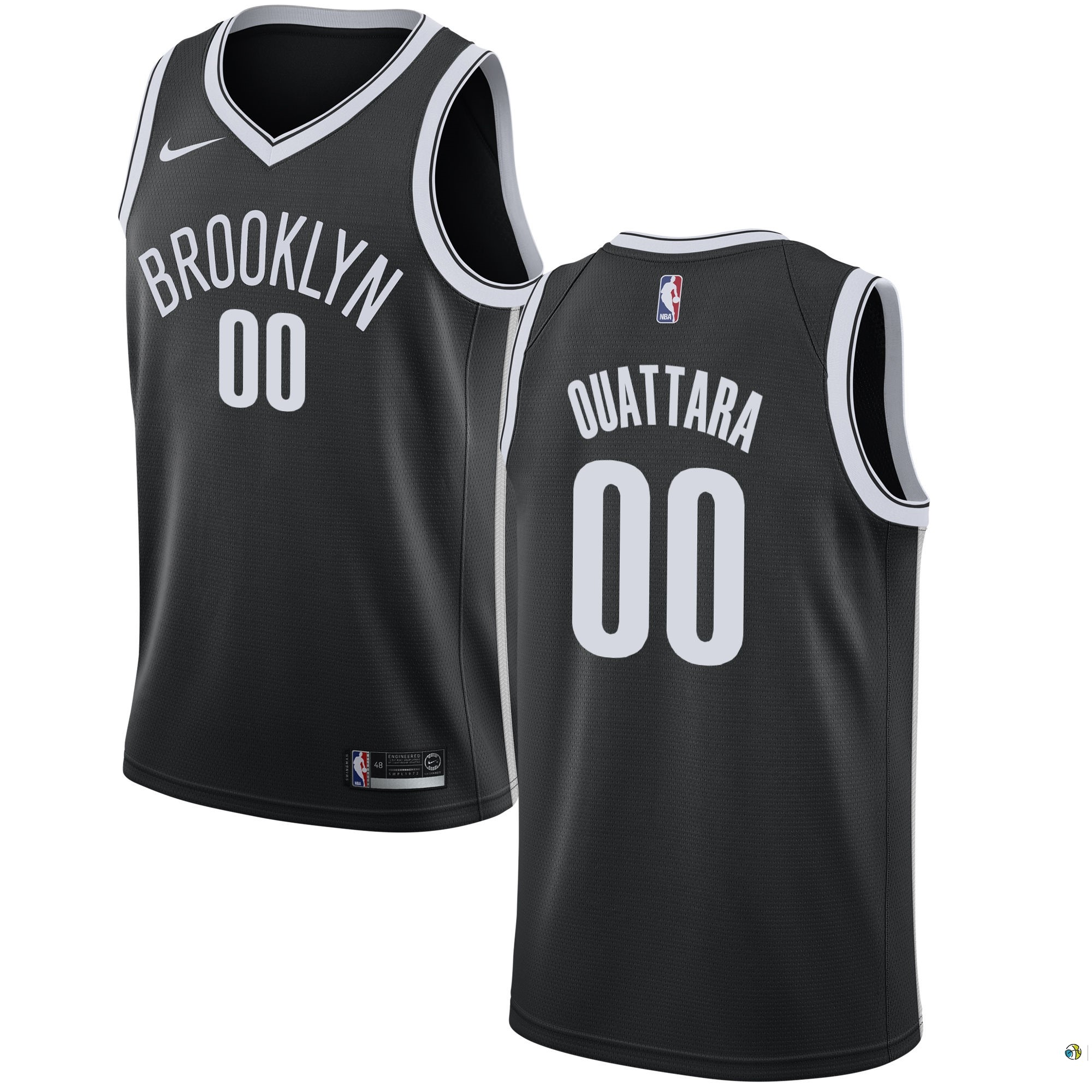 Maillot NBA Brooklyn Nets NO.0 Yakuba Ouattara Noir Icon 2017-18