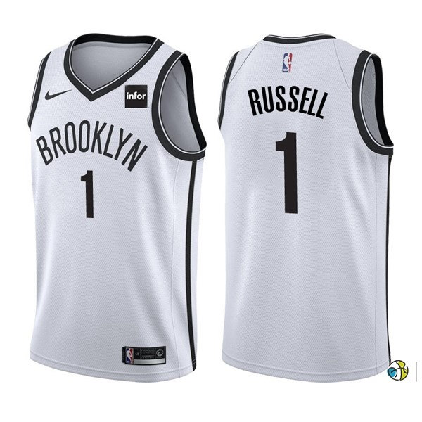 Maillot NBA Brooklyn Nets NO.1 D'Angelo Russell Blanc 2017-18