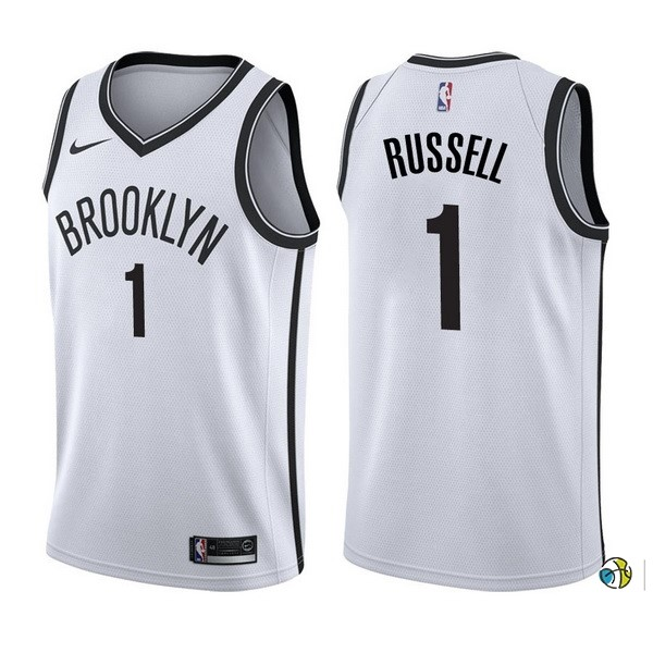 Maillot NBA Brooklyn Nets NO.1 D'Angelo Russell Blanc Association 2017-18