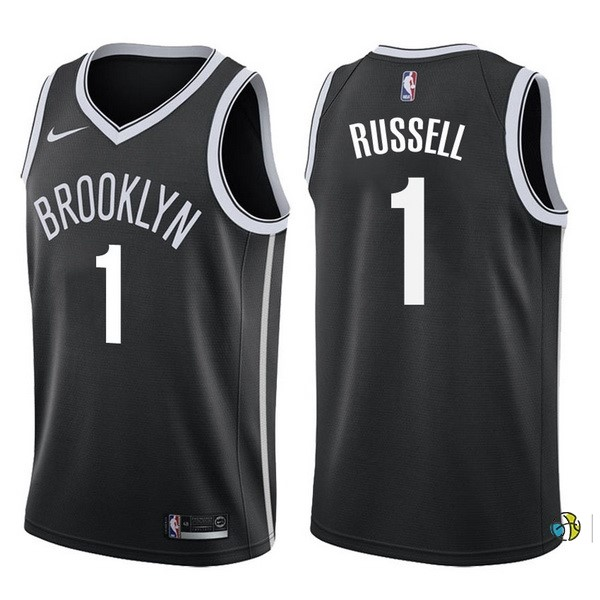 Maillot NBA Brooklyn Nets NO.1 D'Angelo Russell Noir Icon 2017-18