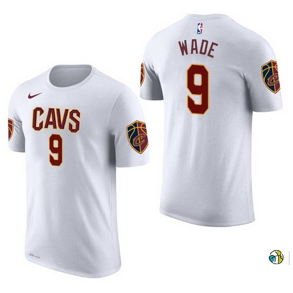 Maillot NBA Cleveland Cavaliers Manche Courte NO.9 Dwyane Wade Blanc 2017-18