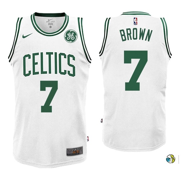 Maillot NBA Enfant Boston Celtics NO.7 Jaylen Brown Blnaco 2017-18