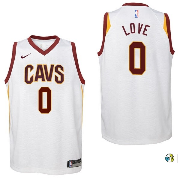 Maillot NBA Enfant Cleveland Cavaliers NO.0 Kevin Love Blanc Association 2017-18