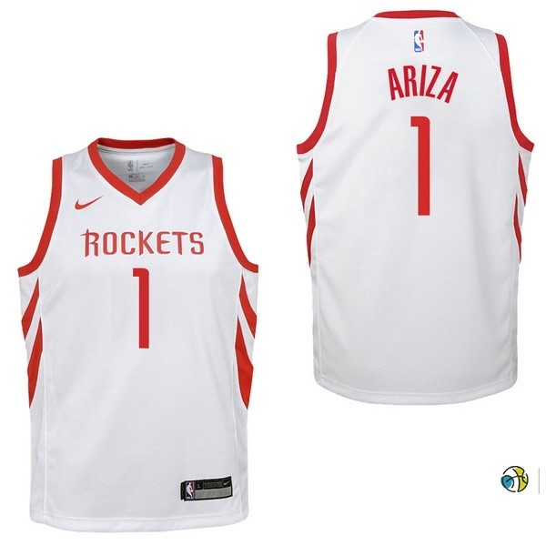 Maillot NBA Enfant Houston Rockets NO.1 Trevor Ariza Blanc Association 2017-18