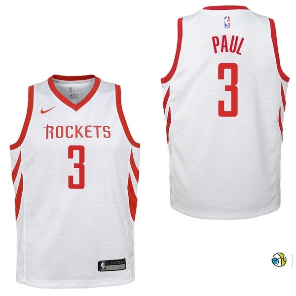Maillot NBA Enfant Houston Rockets NO.3 Chris Paul Blanc Association 2017-18