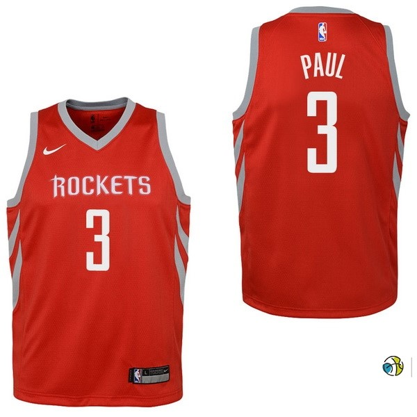 Maillot NBA Enfant Houston Rockets NO.3 Chris Paul Rouge Icon 2017-18