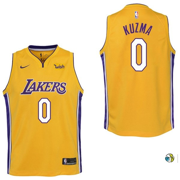 Maillot NBA Enfant Los Angeles Lakers NO.0 Kyle Kuzma Jaune 2017-18