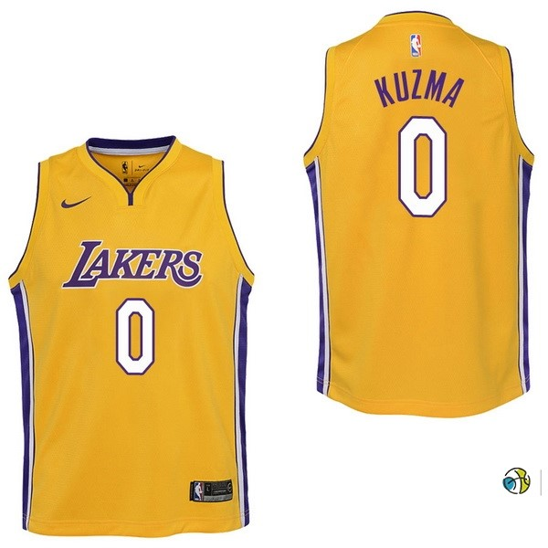 Maillot NBA Enfant Los Angeles Lakers NO.0 Kyle Kuzma Jaune Icon 2017-18