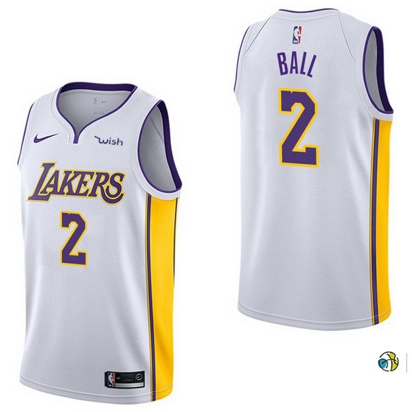 Maillot NBA Enfant Los Angeles Lakers NO.2 Lonzo Ball Blanc 2017-18
