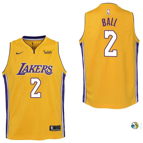 Maillot NBA Enfant Los Angeles Lakers NO.2 Lonzo Ball Jaune 2017-18