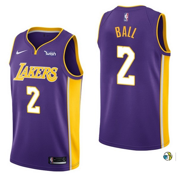 Maillot NBA Enfant Los Angeles Lakers NO.2 Lonzo Ball Pourpre 2017-18