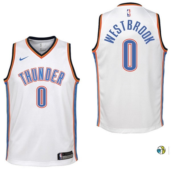 Maillot NBA Enfant Oklahoma City Thunder NO.0 Russell Westbrook Blanc Association 2017-18