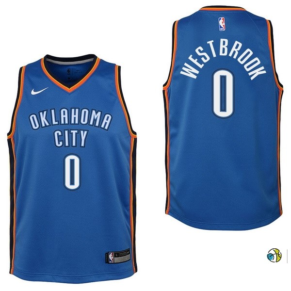 Maillot NBA Enfant Oklahoma City Thunder NO.0 Russell Westbrook Bleu Icon 2017-18