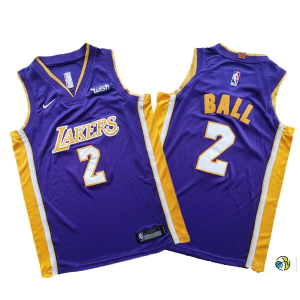 Maillot NBA Ensemble Complet Enfant Los Angeles Lakers NO.2 Lonzo Ball Pourpre 2017-18