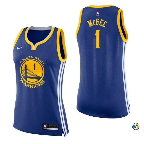 Maillot NBA Femme Golden State Warriors NO.1 Javale Mcgee Bleu Icon 2017-18