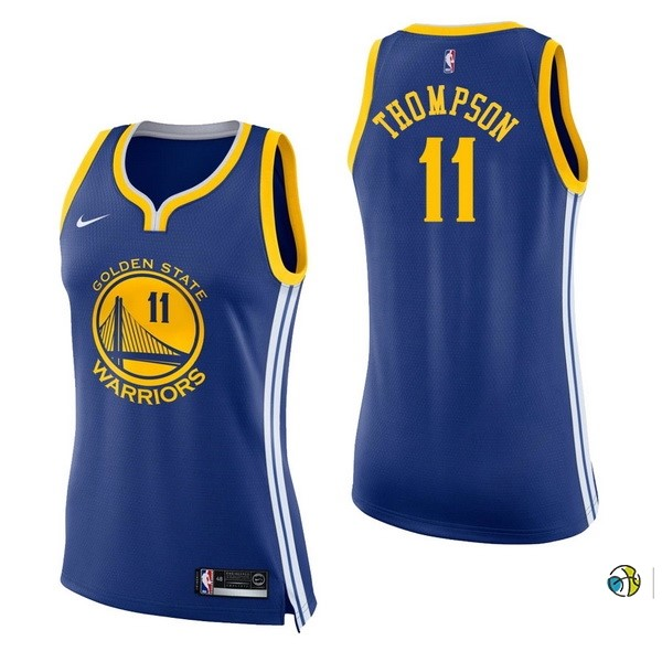 Maillot NBA Femme Golden State Warriors NO.11 Klay Thompson Bleu Icon 2017-18