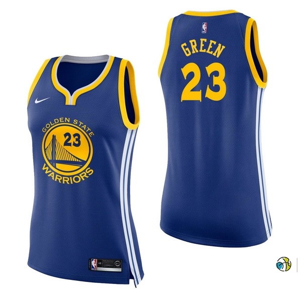 Maillot NBA Femme Golden State Warriors NO.23 Draymond Green Bleu Icon 2017-18