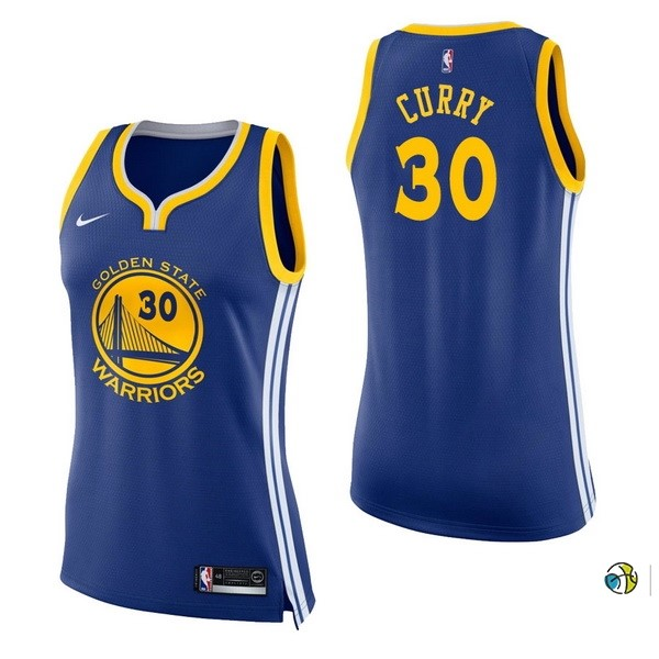 Maillot NBA Femme Golden State Warriors NO.30 Stephen Curry Bleu Icon 2017-18