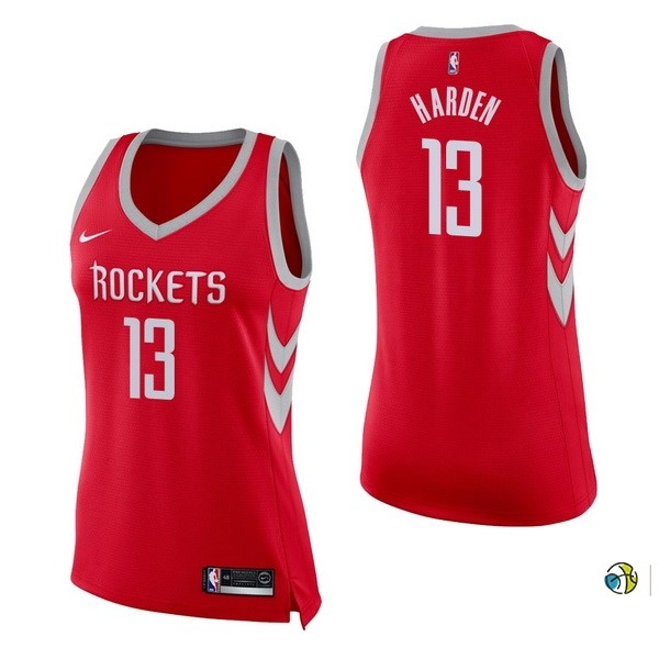 Maillot NBA Femme Houston Rockets NO.13 James Harden Rouge Icon 2017-18