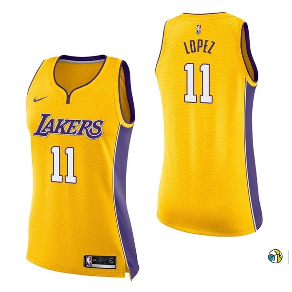 Maillot NBA Femme Los Angeles Lakers NO.11 Brook Lopez Jaune Icon 2017-18