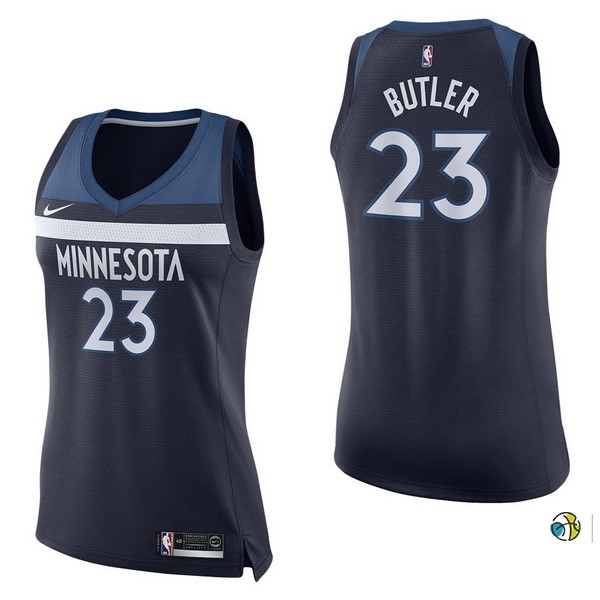 Maillot NBA Femme Minnesota Timberwolves NO.23 Jimmy Butler Marine Icon 2017-18