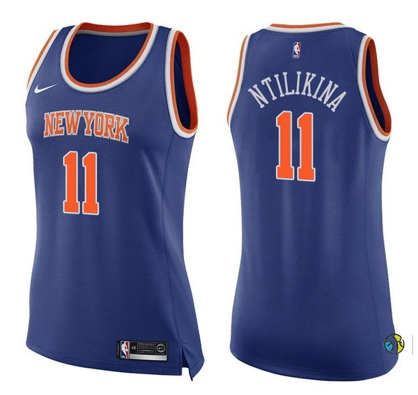 Maillot NBA Femme New York Knicks NO.11 Frank Ntilikina Bleu Icon 2017-18
