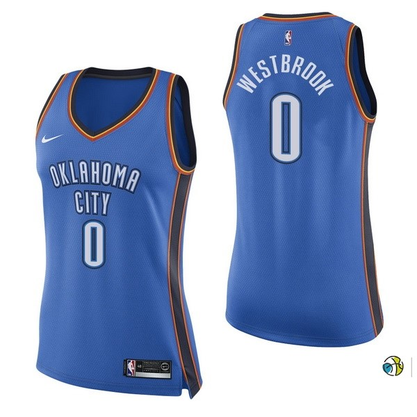 Maillot NBA Femme Oklahoma City Thunder NO.0 Russell Westbrook Bleu Icon 2017-18
