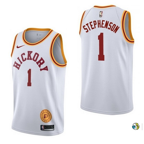 Maillot NBA Indiana Pacers NO.1 Lance Stephenson Retro Blanc 2017-18