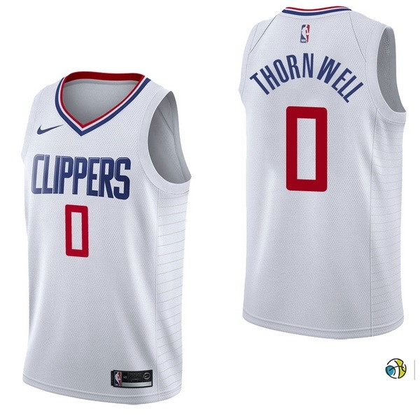 Maillot NBA Los Angeles Clippers NO.0 Sindarius Thornwell Blanc Association 2017-18