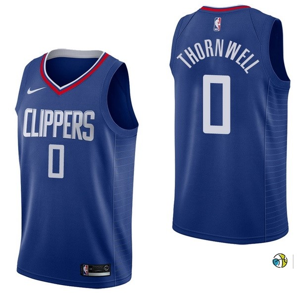 Maillot NBA Los Angeles Clippers NO.0 Sindarius Thornwell Bleu Icon 2017-18
