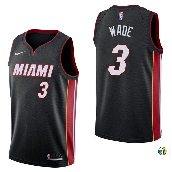 Maillot NBA Miami Heat NO.3 Dwyane Wade Noir Icon 2017-18