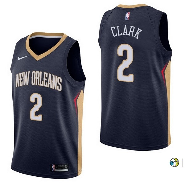 Maillot NBA New Orleans Pelicans NO.2 Ian Clark Marine Icon 2017-18