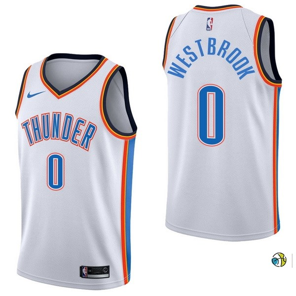 Maillot NBA Oklahoma City Thunder NO.0 Russell Westbrook Blanc Association 2017-18