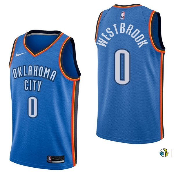 Maillot NBA Oklahoma City Thunder NO.0 Russell Westbrook Bleu Icon 2017-18