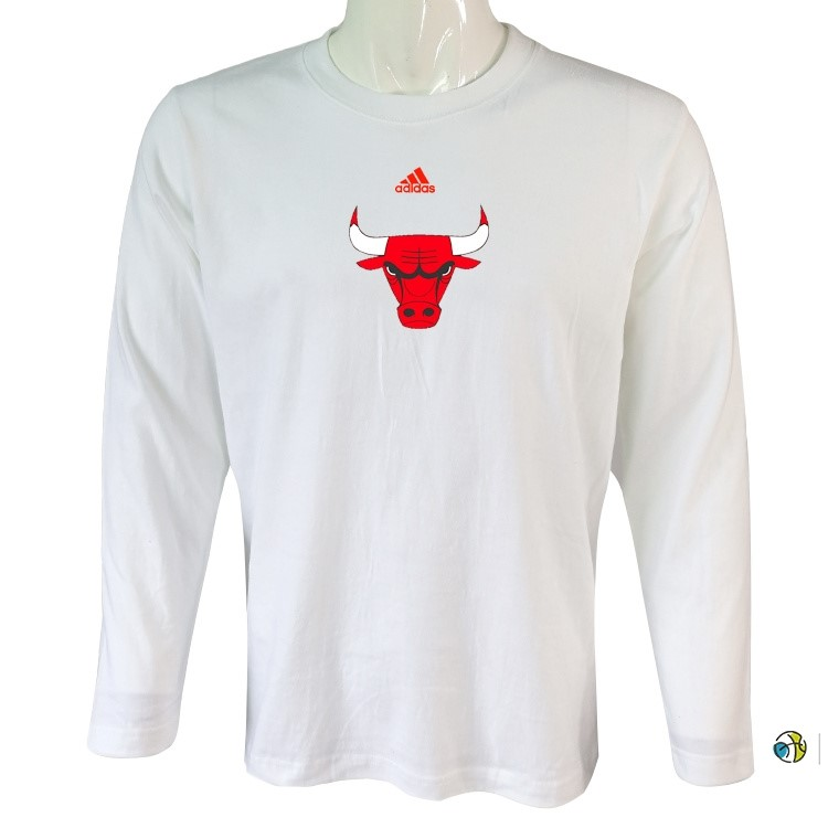 T-Shirt NBA Chicago Bulls Manches Longues Blanc