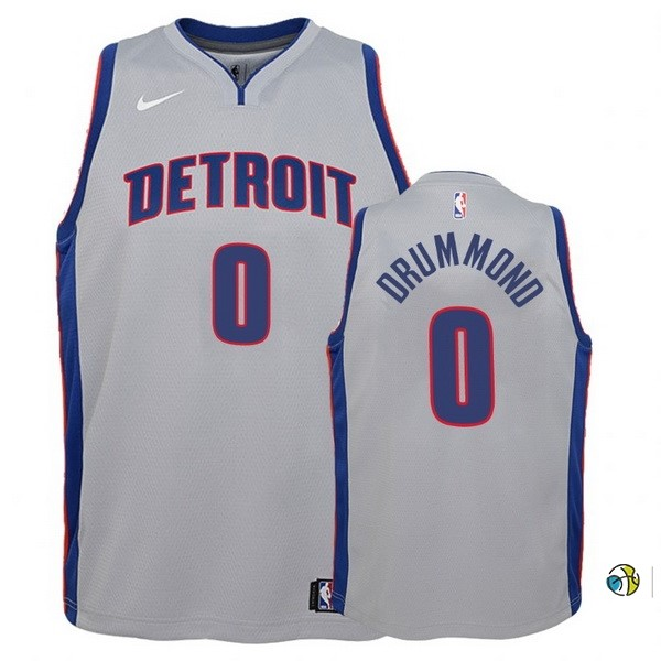 Maillot Basket Enfant Detroit Pistons NO.0 Andre Drummond Gris Statement