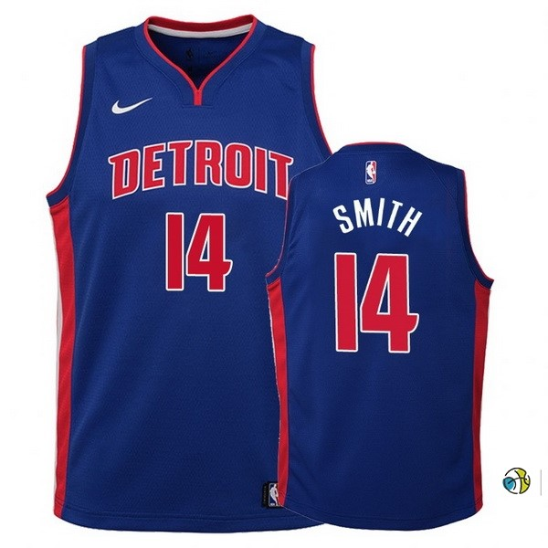 Maillot Basket Enfant Detroit Pistons NO.14 Ish Smith Bleu Icon