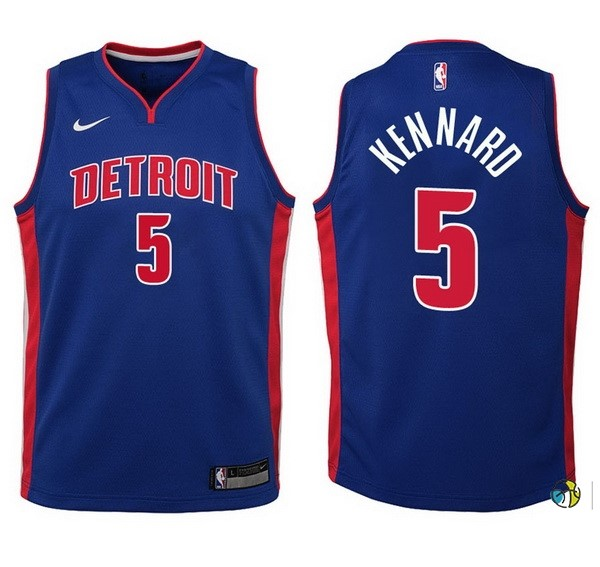 Maillot Basket Enfant Detroit Pistons NO.5 Luke Kennard Bleu Icon