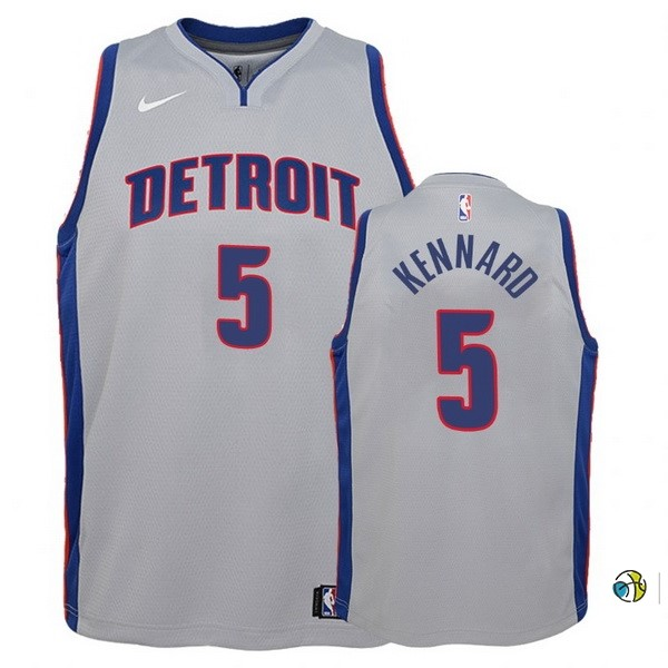 Maillot Basket Enfant Detroit Pistons NO.5 Luke Kennard Gris Statement