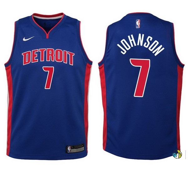 Maillot Basket Enfant Detroit Pistons NO.7 Stanley Johnson Bleu Icon