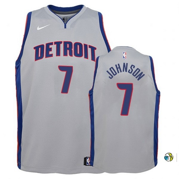 Maillot Basket Enfant Detroit Pistons NO.7 Stanley Johnson Gris Statement
