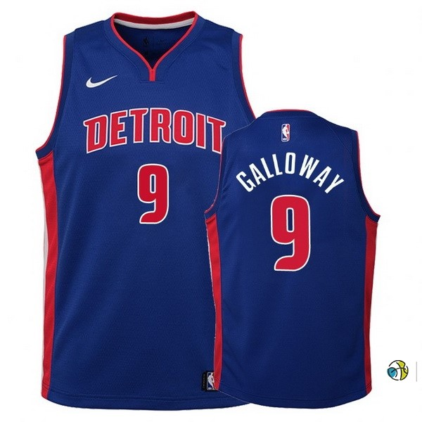 Maillot Basket Enfant Detroit Pistons NO.9 Langston Galloway Bleu Icon