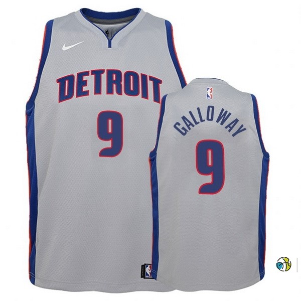 Maillot Basket Enfant Detroit Pistons NO.9 Langston Galloway Gris Statement