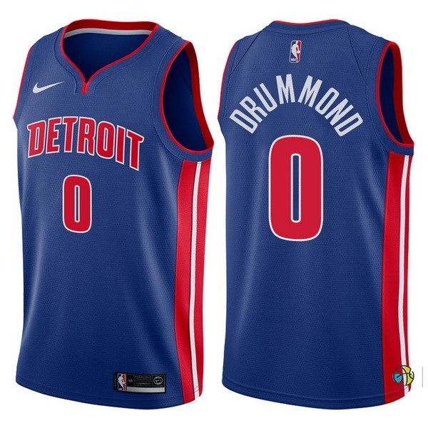 Maillot NBA Detroit Pistons NO.0 Andre Drummond Bleu Icon 2017-18